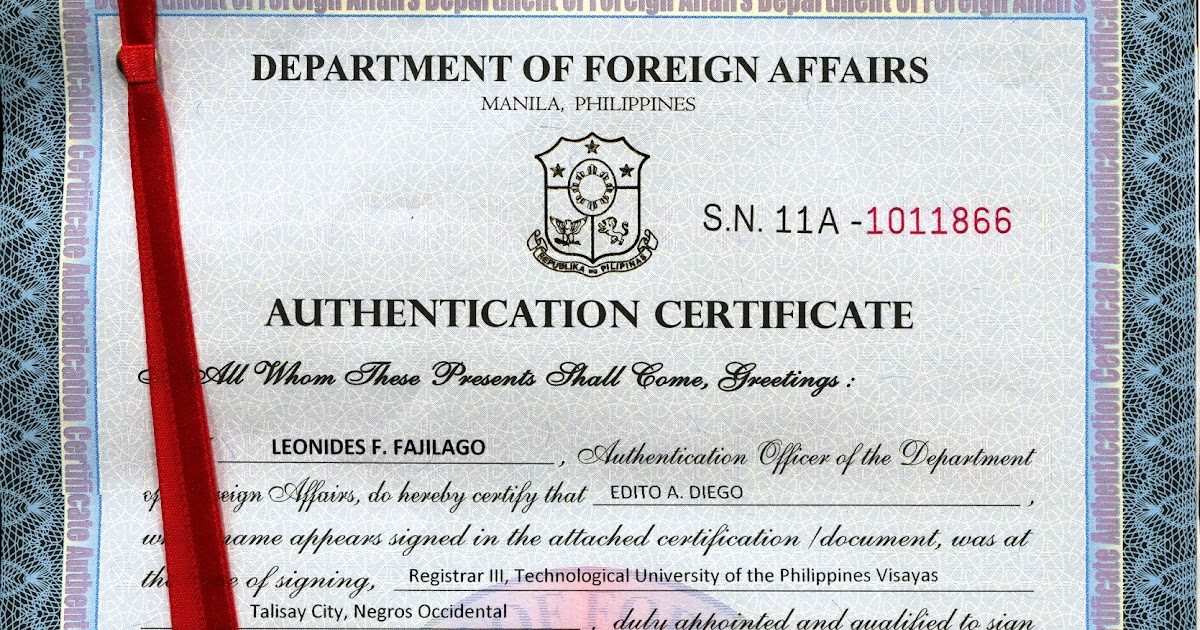 Dfa Authentication Or Red Ribbon Authorization Letter To