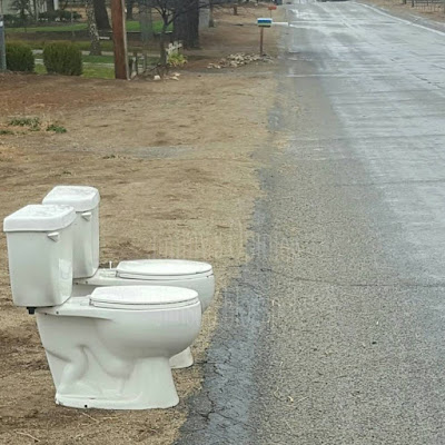 Two Toilets sitting on side of the road