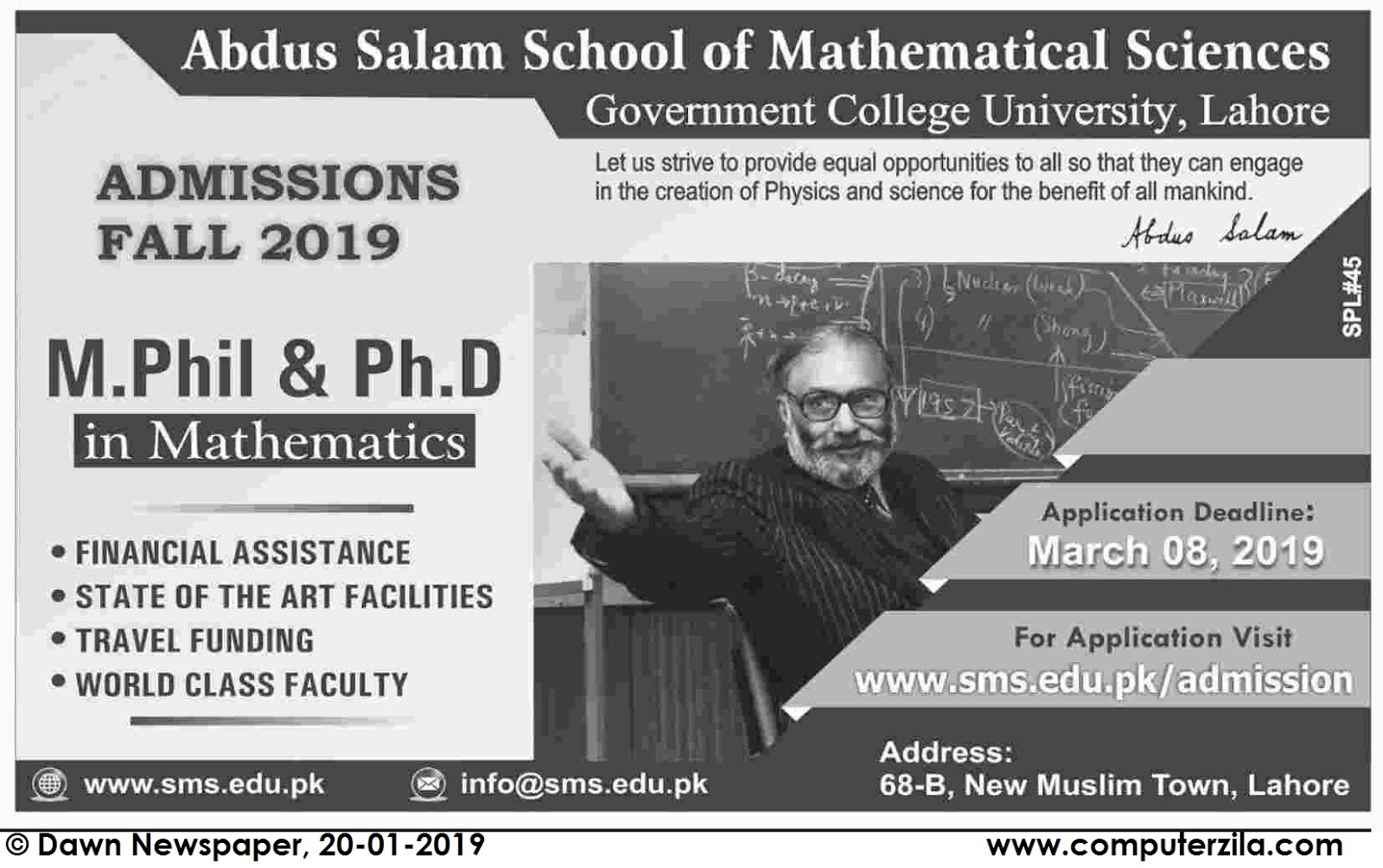Admissions Open For Spring 2019 At AS-SMS undefined Campus