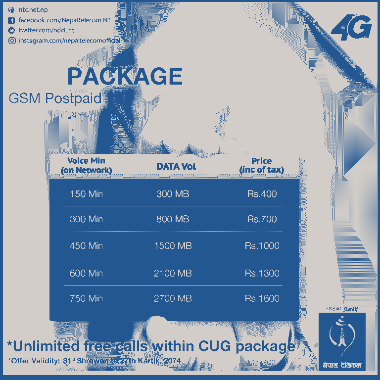 New CUG pack for Nepal Telecom GSM postpaid corporate