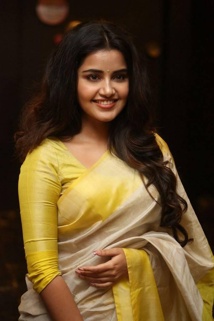 Anupama Parameswaran Stills In Yellow Saree At Success Celebrations