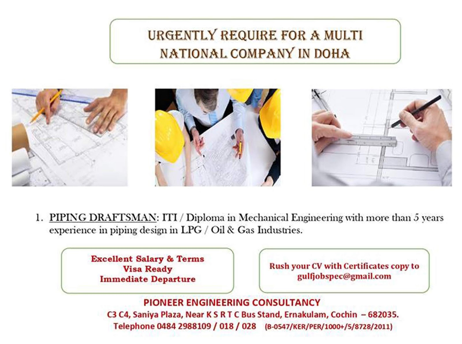Piping Draftsman for Multi National Company in Doha Qatar