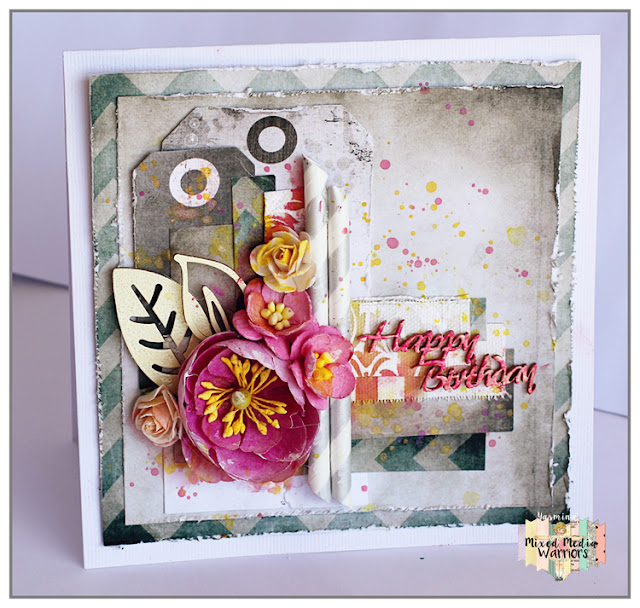 Birthday Card by Yasmina TINSANG using 7Dots Studio papers and Silks acrylic Glaze (ColourArte)