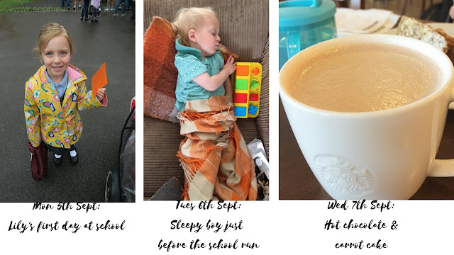 Our week in pictures; Lily's first day of school, Alexander napping until pick up time, hot chocolate and carrot cake with Alexander