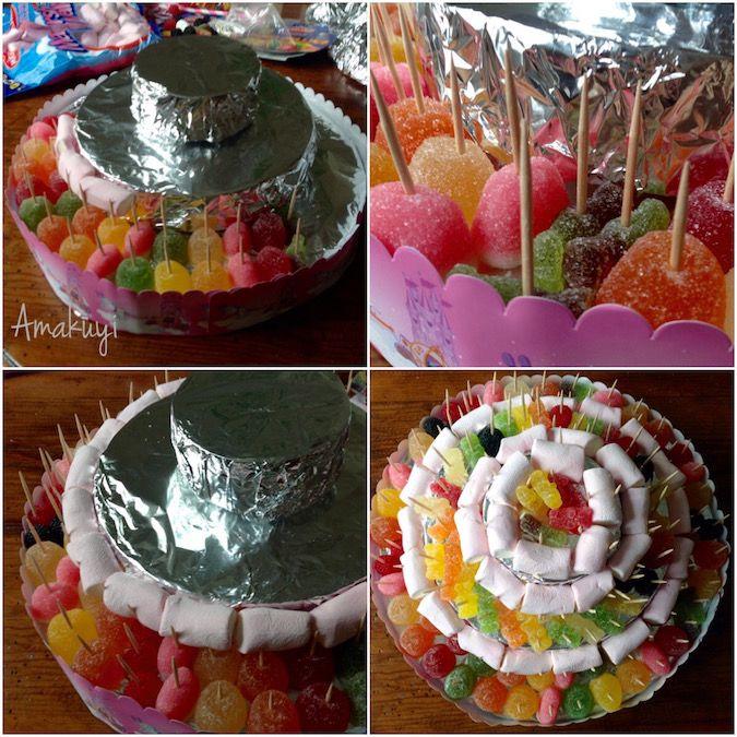 elaboración de la tarta de chuches
