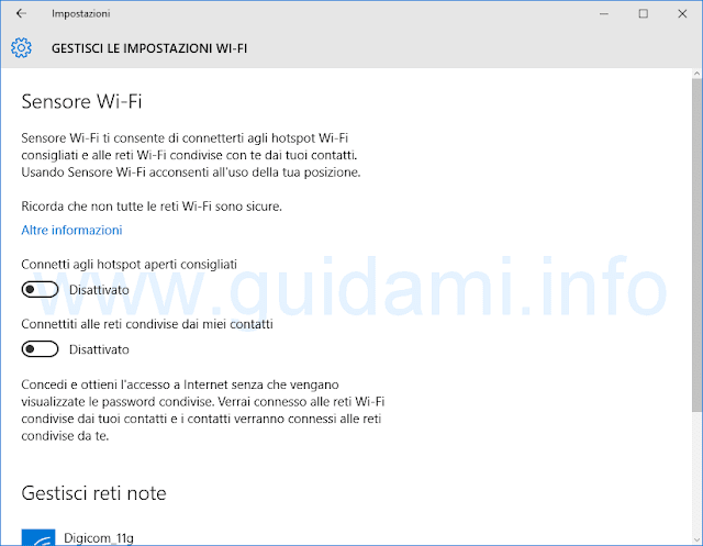 Sensore Wi-Fi Windows 10