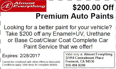 Discount Coupon $200 Off Premium Auto Paint Sale February 2017