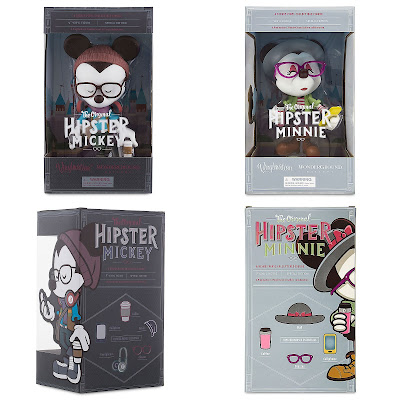 "Hipster Mickey & Minnie Vinylmation 9"" Vinyl Figures by Jerrod Maruyama x Disney x WonderGround Gallery"
