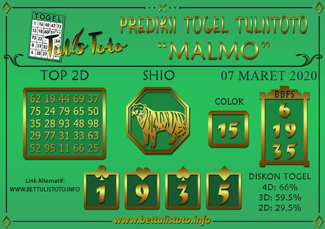 Prediksi Togel MALMO TULISTOTO 07 MARET 2020