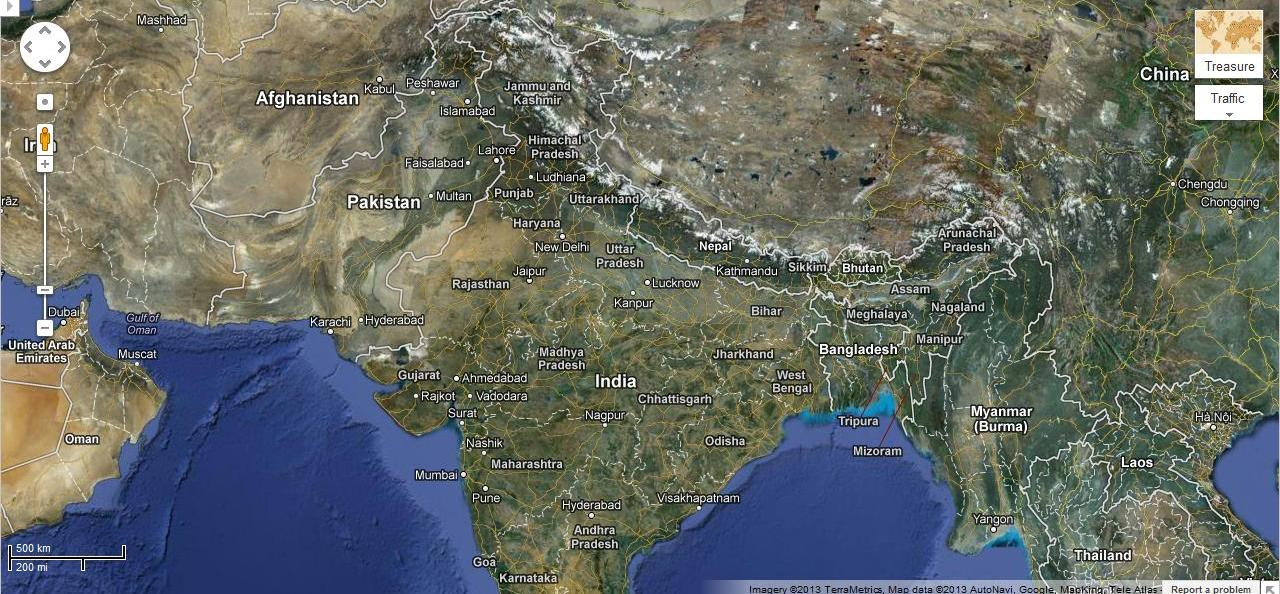 satelite view of india in google map