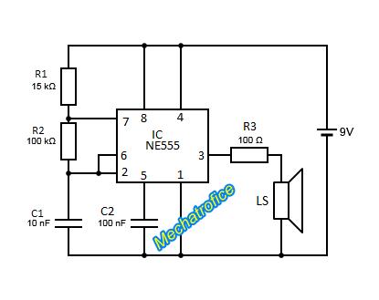 ne555 siren alarm indicator tone generator circuit diagram