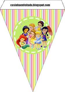 Banderines de  las Princesas Disney Bebés para imprimir gratis.