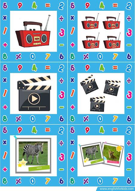 singular and plural nouns printable flash cards