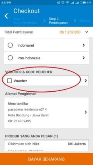 masukkan kode voucher Blibli.com