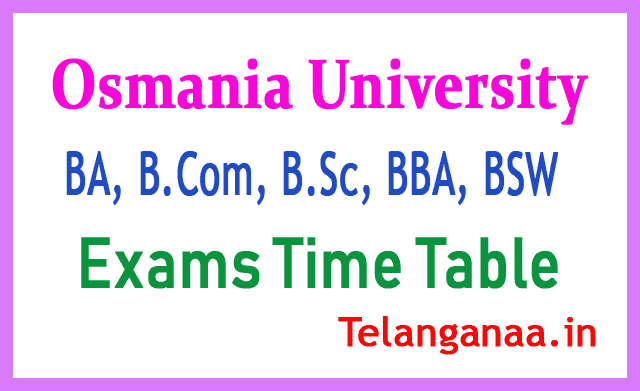 OU Degree B A  B ScB Com  BBA  BSW  Exams Time Table Osmania University