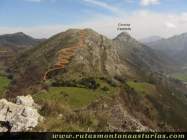 Camino aproximado a la Corona Castiello desde Peña Llana