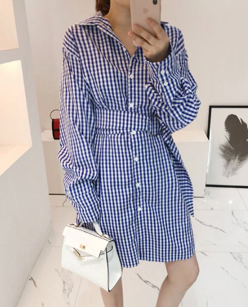 Gingham Check Belted Shirt Dress