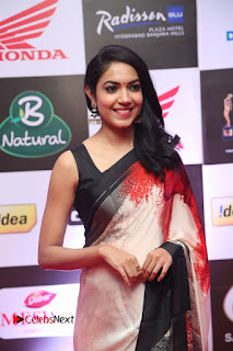 Actress Ritu Varma Pictures in Red Saree at Mirchi Music Awards South 2015  0003