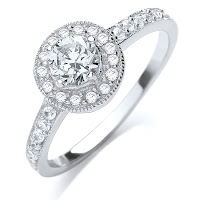 J Jaz Silver Round Pave Cubic Zirconia Ring