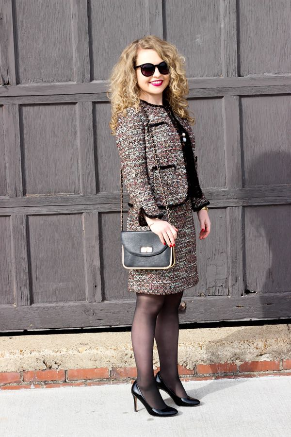 Ann Taylor Sequin Tweed Jacket, Ann Taylor Sequin Tweed Skirt