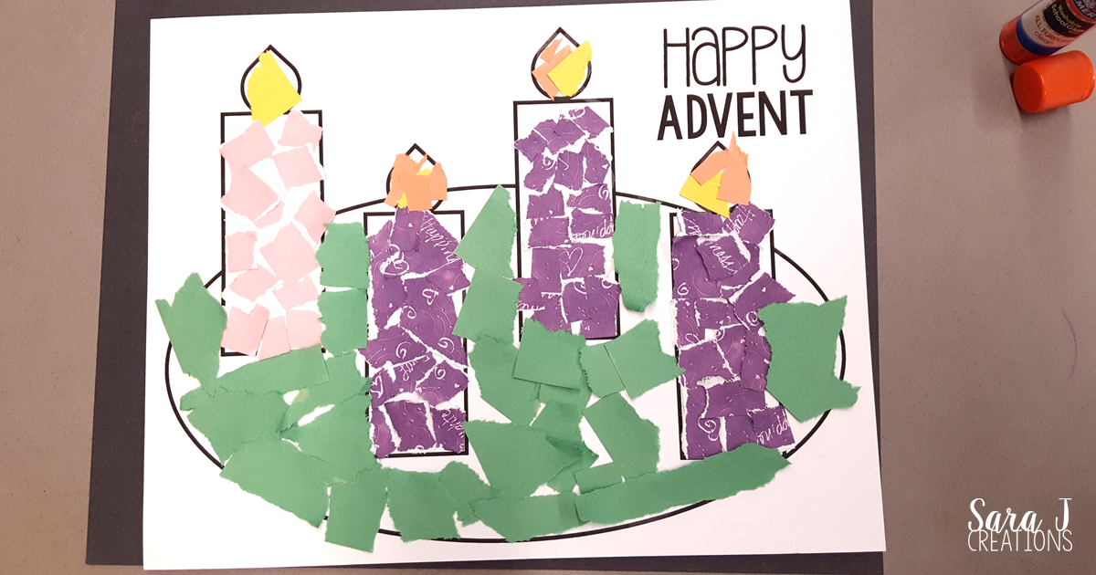 Printable advent wreath craft is perfect for kids to make to prepare for Christmas.