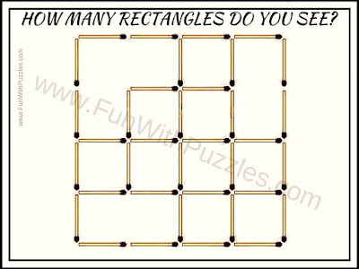 Picture Puzzle to count number of rectangles in given matchstick shape