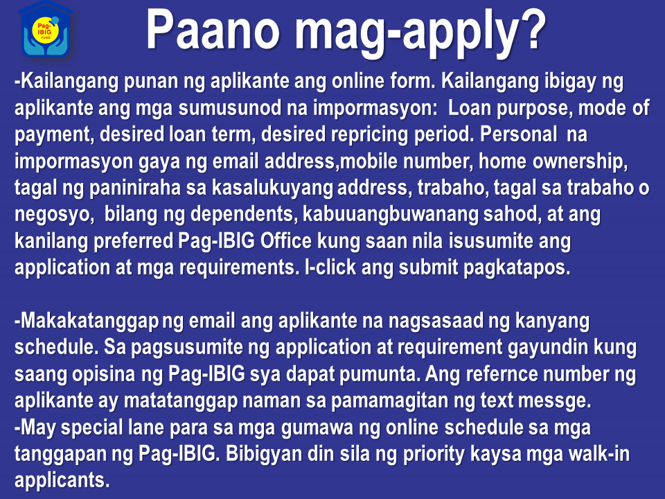 "Are you a minimum wage earner and planning to have your own house? do you think it is impossible for you to do it because your salary may not be enough? Now, a Pag-IBIG Fund member who are earning minimum wage not more than P17,500 can avail of their Affordable Housing Program. All you need to do is to follow these Question and Answers and educate yourself and go one step further for acquiring your dream home. Sponsored Links 7777777777777777777777777777777777777777777777777777777777777  How long is the repayment term?   The maximum repayment period for the loan is thirty (30) years.    What are the loan purposes?   The Pag-IBIG housing loan may be used to finance any one of the following:  • Purchase of a fully developed residential lot or adjoining lots not exceeding 1,000 square meters;  • Purchase of a residential house and lot, townhouse, or condominium unit;  • Construction or completion of a residential unit on a lot owned by the member.    Who are eligible to apply for Affordable Housing Program?   The program may be availed of by members who satisfy the following requirements:  • Must have remitted 24 monthly contributions under Pag-IBIG I Membership Program. New members may pay the 24 monthly membership contributions in lump sum, corresponding to the loan amount applied for;  • Has a gross monthly income not exceeding ₱17,500.00 for those working in the NCR and ₱14,000.00 for workers in other regions; • Not more than 65 years old;  • Has no outstanding Pag-IBIG housing loan;  • Has no outstanding multi-purpose loan in arrears;  • Had no Pag-IBIG housing loan that was foreclosed, cancelled, bought back due to default or subjected to Dacion en Pago.   How much can a member borrow?   • A qualified Pag-IBIG member may borrow up to a maximum amount of ₱750,000.00, depending on the member's actual need, his loan entitlement based on gross monthly income, his loan entitlement based on capacity to pay, and the loan-to-appraisal value ratio, whichever is the lowest.   What is the loan to appraisal value ratio?  The loan to appraisal value ratio is: Loan Amount Loan-to-Appraisal Value Ratio Up to ₱450,000 100% Over ₱450,000 to ₱750,000 90%   What are the interest rates ?  For the first ten years of the loan, interest rate for loans of up to ₱450,000 is 3% provided the gross monthly income is ₱15,000 for those working in the NCR and ₱12,000 for workers in other regions.  For loans of up to ₱750,000, the interest rate is 6.5%, provided the gross monthly income for those working in the NCR is not more than ₱17,500, and not more than ₱14,000 for workers in other regions.  At the end of the ten-year period, the interest rate shall be re-priced based on the prevailing interest rate in the Fund's pricing framework or it shall be increased by 2%, whichever is lower. Said interest rates shall be re-priced periodically depending on the chosen fixed pricing period of the borrower.  The base rate for succeeding re-pricing shall be the interest rate for the immediately preceding re-pricing period.  Advertisements {INSERT 2-3 PARAGRAPHS HERE}    Where to file Housing Loan Application?   • Housing loan application may be filed online at www.pagibigfund.gov.ph, by clicking ""E-Services"" on the PagIBIG Fund website's homepage, then clicking ""Housing Loan Application.""  • Housing Loan applicants may also go to the Pag-IBIG NCR/Regional Branch that has territorial jurisdiction over over the property subject of the loan.     What are the requirements?   For the checklist of requirements, choose ""Benefits and Programs"" on the Pag-IBIG Fund website's homepage, click ""Housing Loan Program,"" then click ""Requirements"" under ""Housing Loan Availment.""   How long is the Processing Time?  The regular processing time for a housing loan application is fifteen (15) working days, provided the borrower has submitted all the necessary requirements. You can apply personally through any Pag-IBIG offices near you. Or log on to www.pagibig.gov.ph. To download the needed application forms, click here.  For further details contact any Pag-IBIG offices in your area or visit their website. Source: Pag-IBIG Fund Advertisement Read More:       ©2017 THOUGHTSKOTO www.jbsolis.com SEARCH JBSOLIS, TYPE KEYWORDS and TITLE OF ARTICLE at the box below"