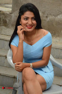 Actress Ankitha Jadhav Pictures in Blue Short Dress at Cottage Craft Mela 0030