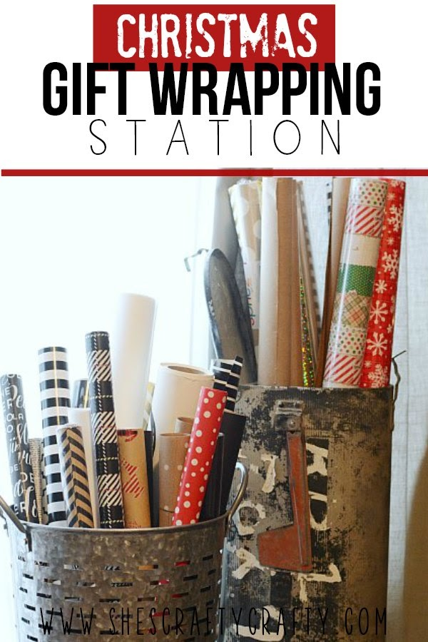 Christmas gift wrapping station, set up a gift wrap station to easily wrap gifts