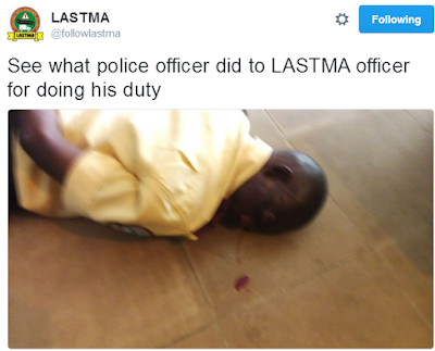 OMG!!! SEE WHAT NIGERIAN POLICE DID TO LASTMA OFFICIAL IN AJAH (GRAPHIC PHOTOS)