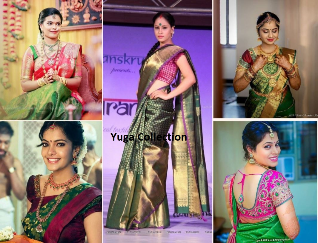 8e6105dd653094 Beautiful Kanjeevaram Bridal Sarees with Best Blouse Combinations