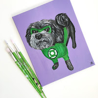 green lantern, custom portrait, dog portrait, dog painting, dog art, dog lover, gifts for dog lover, dog lover gift, pet painting, pet portrait, i love my dog