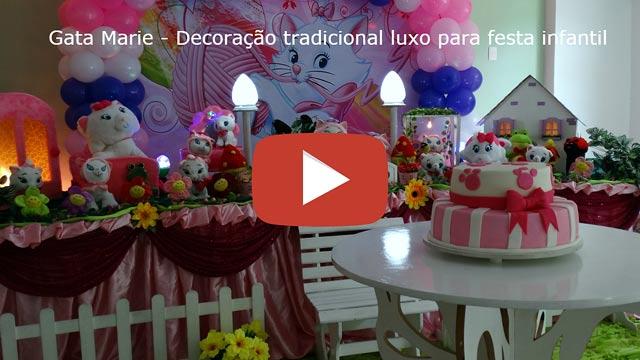 Vídeo decoração Gata Marie tradicional luxo