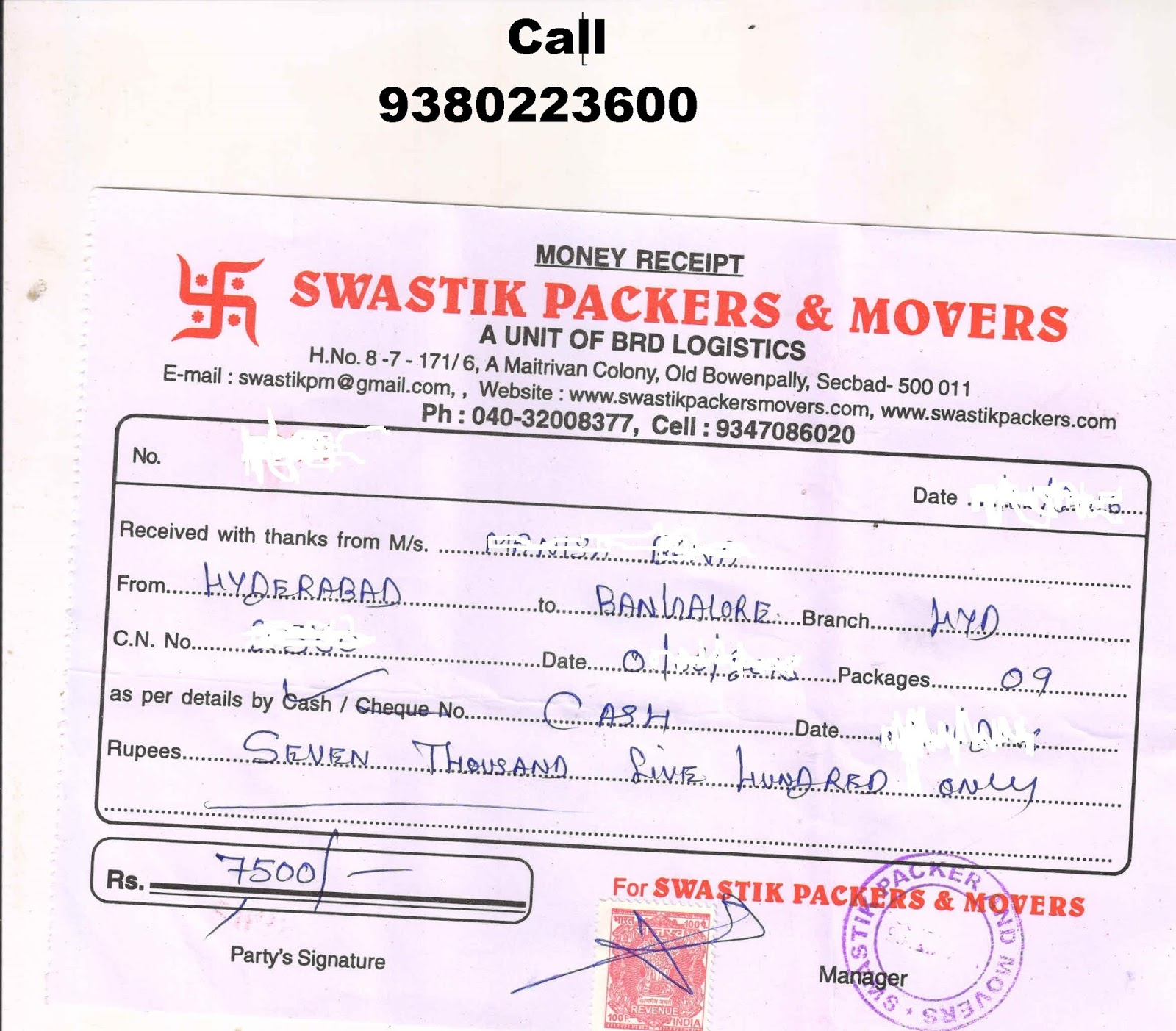 ORIGINAL GST PACKERS MOVERS BILL FOR CLAIM IN CHENNAI HYDERABAD - Packers and movers bill format download