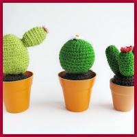 Tres cactus a crochet