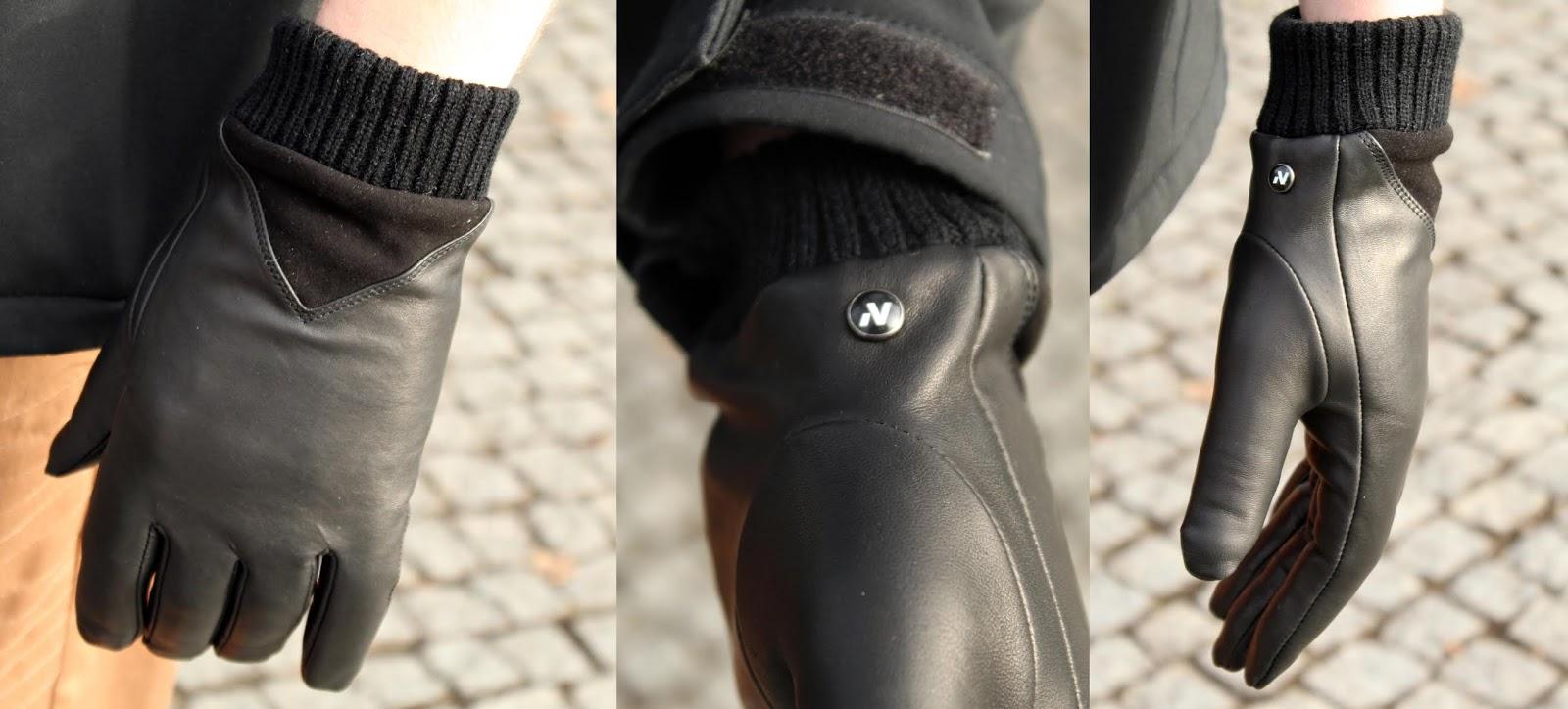 Eleganckie, męskie rękawiczki skórzane pozwalające na obsługę ekranów dotykowych - napo gloves