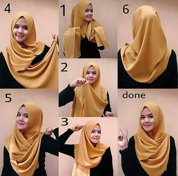 Tutorial Hijab Segi Empat Simple Tanpa Ciput Ninja