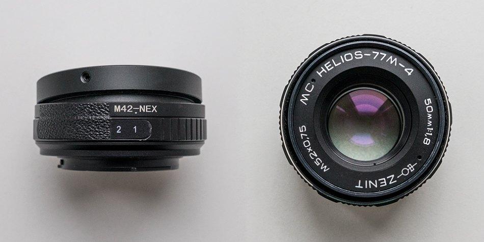 Тилт-адаптер M42-SonyE и объектив Гелиос 77M-4