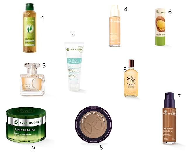 produits cosmétiques de la marque Yves Rocher - parfum - soins - monoi - maquillage - fond de teint peau noire foncée