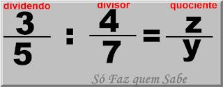 Ilustração admitindo que A divisão de duas frações tem como resultado o número fracionário z/y