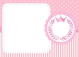 Pink Crown Free Printable Invitations, Labels or Cards.