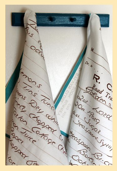 Recipe tea towels made with Spoonflower fabric