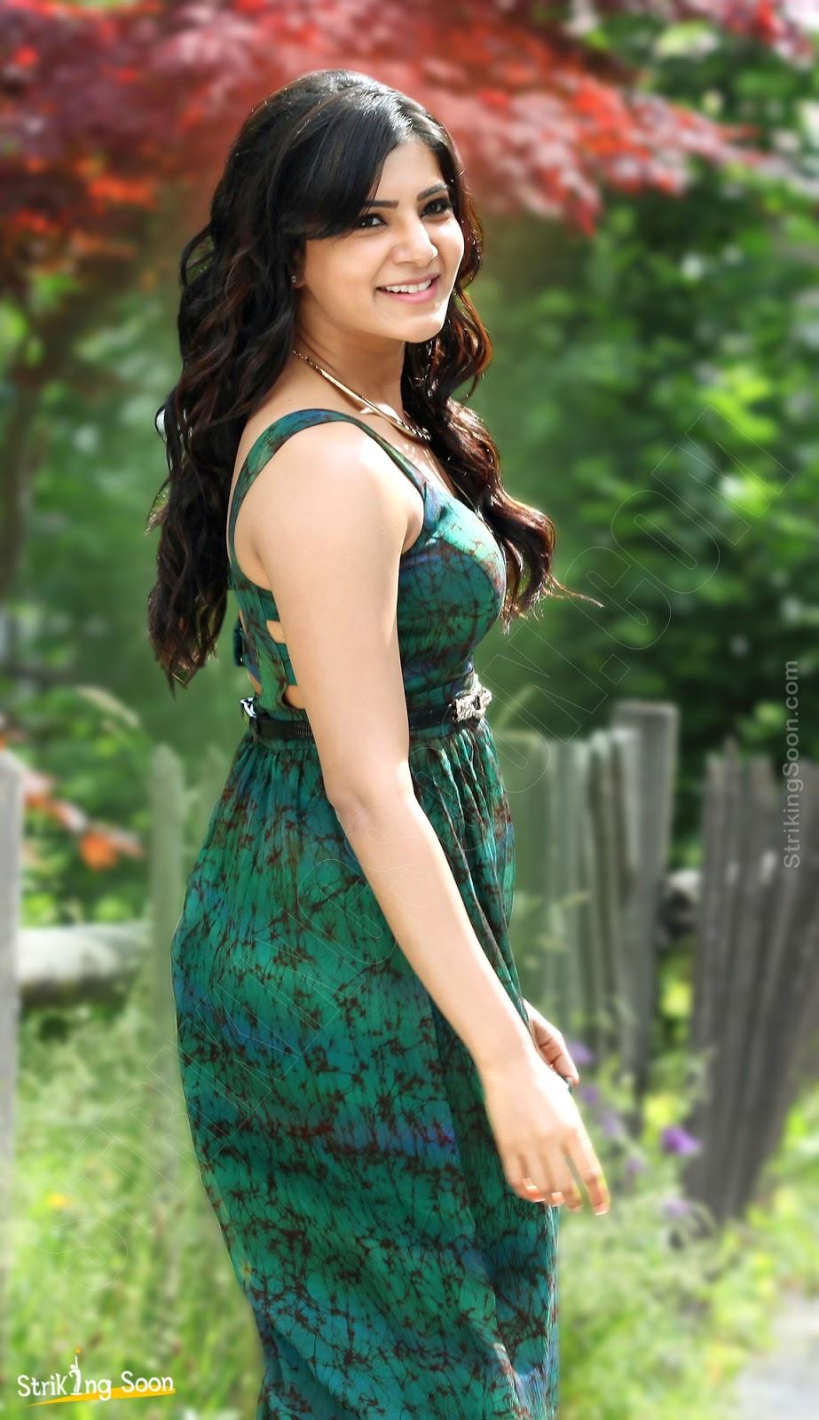 only actress samantha stills green dress at attarintiki