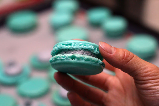 The finished and complete blueberry macaron