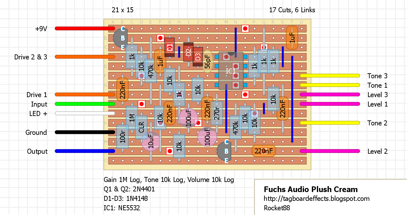 Guitar Fx Layouts Fuchs Audio Plush Cream Opamp Mixer Circuit Diagram With Ne5532 Another Layout This Time The Addition Of Diode In Power Filtering Network There Are A Few Changes To Original That Will Allow For