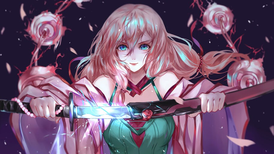 Anime, Girl, Pink Hair, Katana, Sword, 4K, #6.2346
