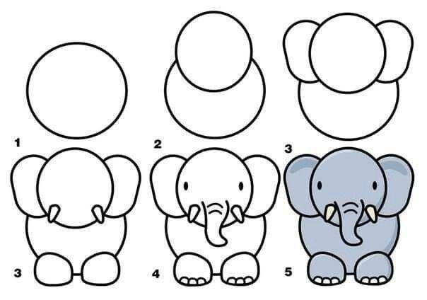 رسم فيل خطوة بخطوة للاطفال
