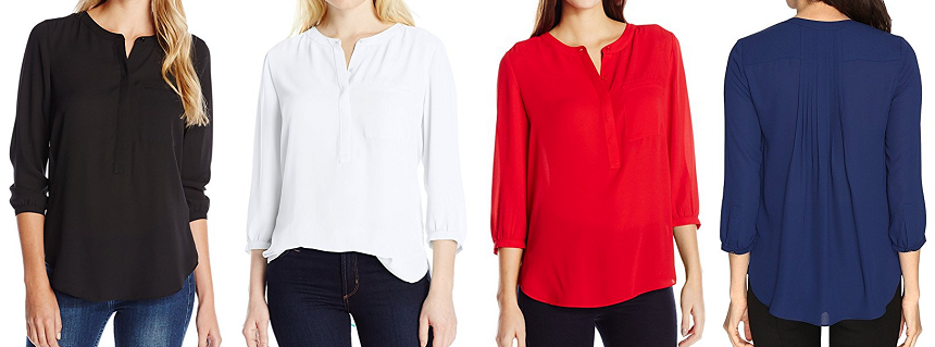 NYDJ Henley Pleat Back Blouse $30-$44 (reg $80)