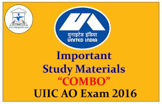 """Important Study Materials """"COMBO"""" for UIIC AO Exam 2016"""