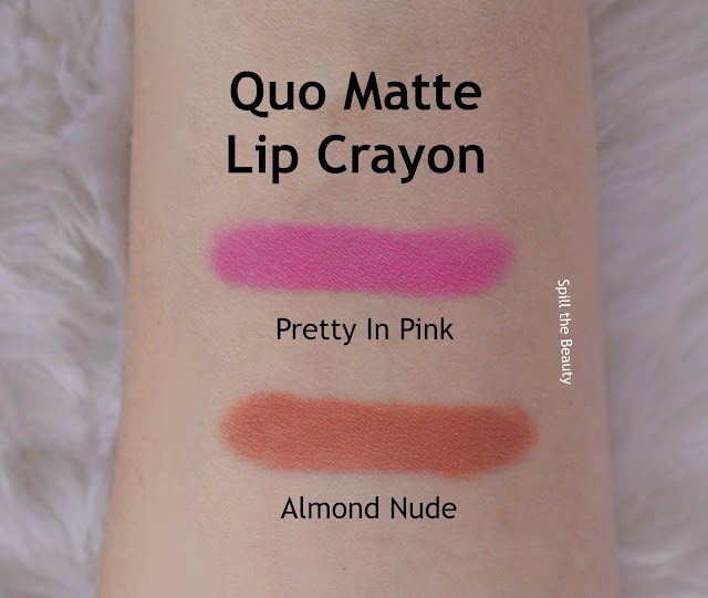quo spring 2017 down to earth heat it up face palette rock it no pressure eyeshadow palette brow palette matte lip crayon almond nude pretty in pink review swatches